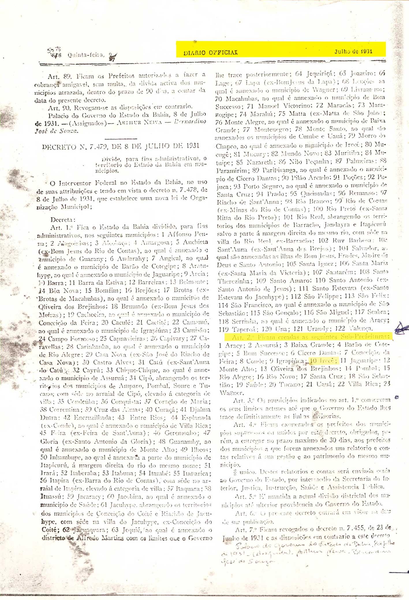 História de Irecê: Diario Oficial Decreto 7479