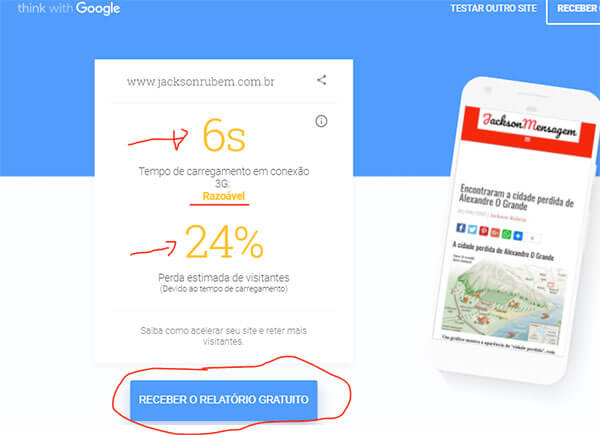 Imagem com resultado do Google Test My Site JacksonMensagem.com
