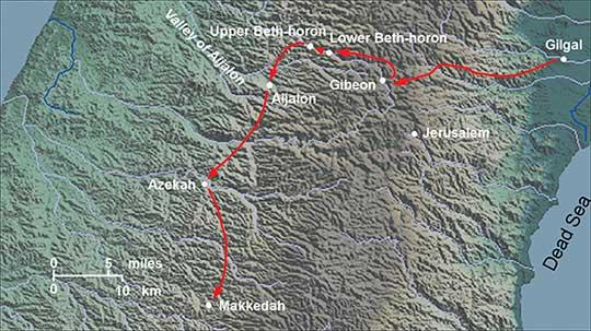 Imagem mostrando Mapa da antiga Canaã mostrando a rota dos israelitas