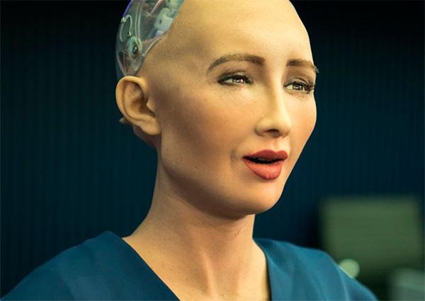 Imagem de Sophie, um robô humanoide com cidadania de gente
